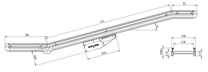 kích thước kỹ thuật băng tải belt khung thép IT4230