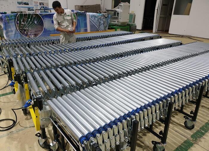 sản phẩm băng tải con lăn xếp tại intech