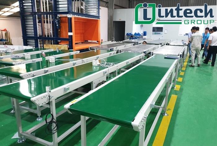 Băng tải PVC xanh 2 mặt bố lắp ráp tại xưởng
