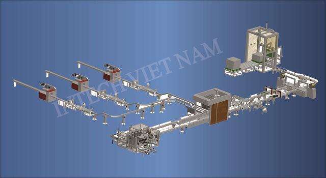 chi tiết mô hình lắp đặt dây chuyền nhà máy tại Hà Nội