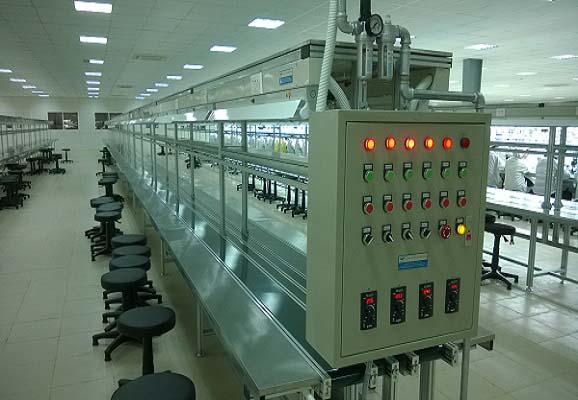 Hệ thống băng tải lắp ráp linh kiện intech thiết kế